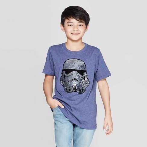 Boys' Americana Star Wars Stormtrooper Flip Sequin Short Sleeve T-Shirt - Blue - image 1 of 4