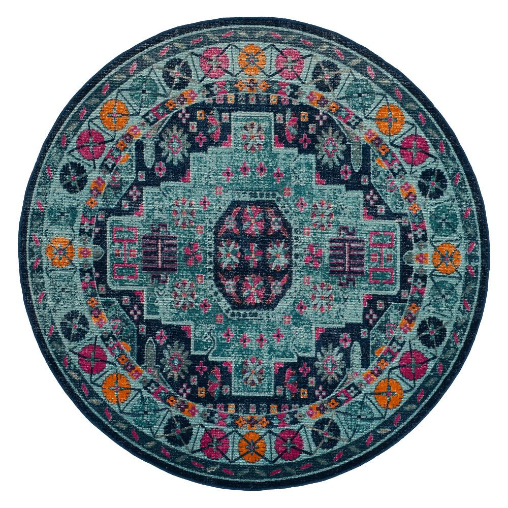 6'7 Medallion Round Area Rug Blue - Safavieh, Blue/Multi-Colored