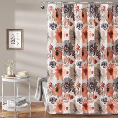 Leah Shower Curtain Coral - Lush Décor