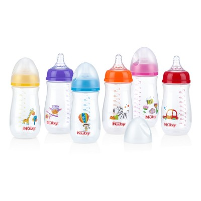 Nuby 9oz Simply Wide Neck Printed Bottle