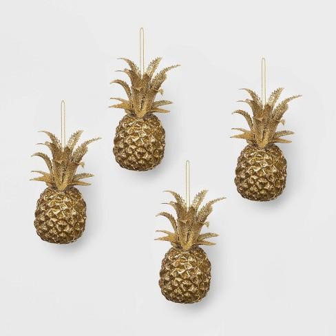 Christmas Pineapple.4ct Metal Pineapple Christmas Ornament Set Gold Wondershop
