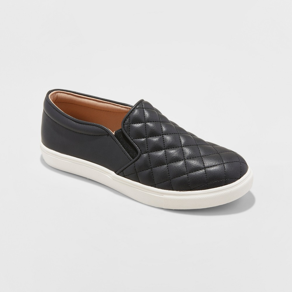 Women's Reese Wide Width Quilted Sneakers - A New Day Black 8W, Size: 8 Wide