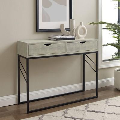Nikolai Faux Shagreen Modern 2 Drawer Entry Table - Saracina Home