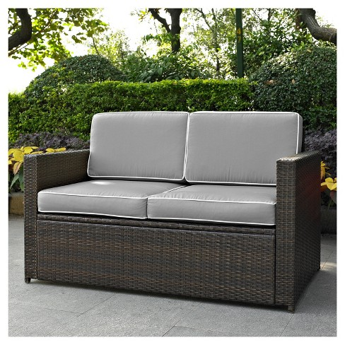 Palm Harbor Outdoor Wicker Loveseat In Brown With Gray Cushions Crosley Target
