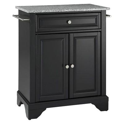 LaFayette Solid Granite Top Portable Kitchen Island - Black - Crosley