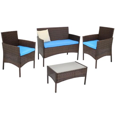 Dunmore 4pc Rattan Outdoor Conversation Set - Mixed Brown Rattan and Blue Cushions - Sunnydaze Decor - image 1 of 4