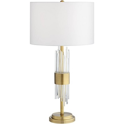 Possini Euro Design Mid Century Modern Table Lamp Brass Clear Glass Tube White Drum Shade Living Room Bedroom Bedside Nightstand