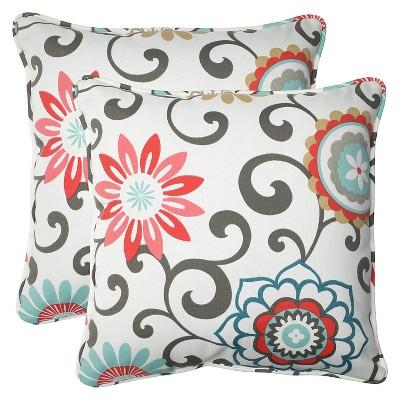 2pk Outdoor Square Throw Pillow - Camel/Aqua/Brown/Botanical - Pillow Perfect