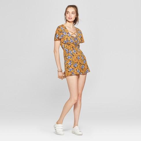 2d5c45b0bb7 Women s Floral Print Lace-Up Romper - Love   First Sight (Juniors ) Mustard