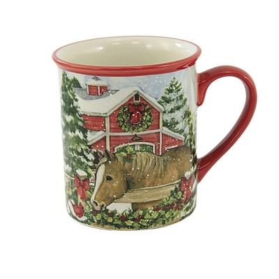 "Tabletop 4.25"" Homestead Christmas Mug Horse Barn Farm Beverage Certified International  -  Drinkware"