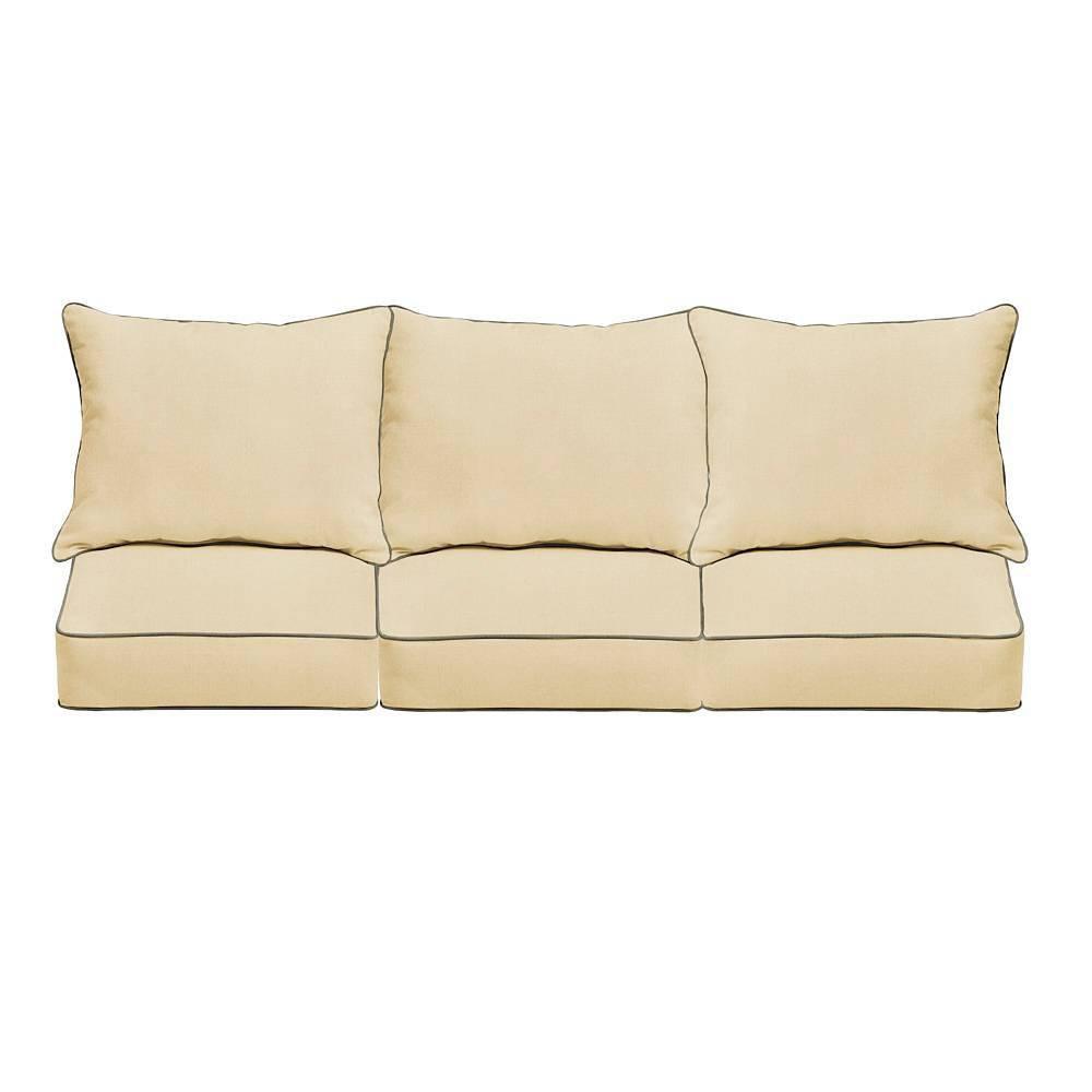 Sunbrella Outdoor Seat Cushion Beige Charcoal Gray