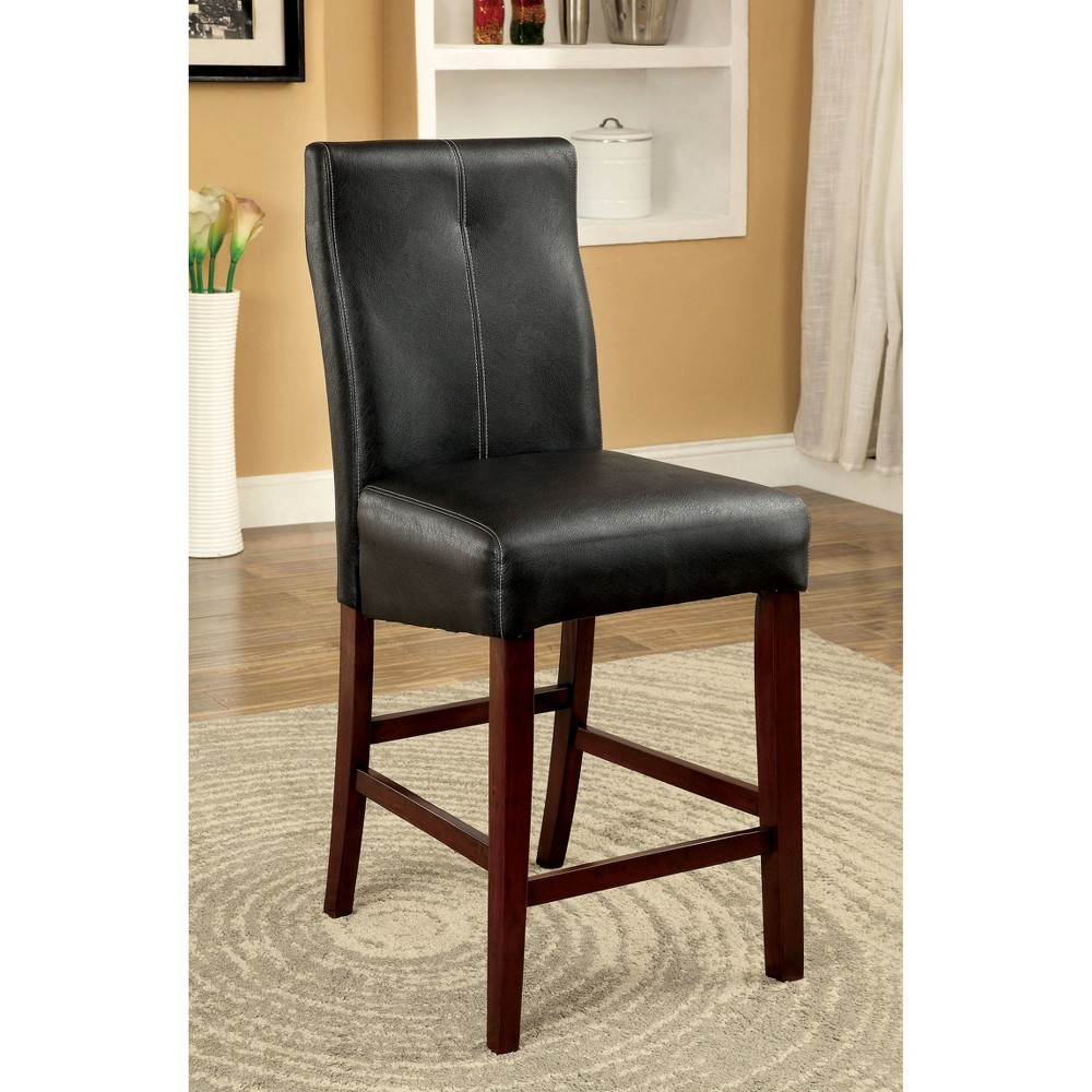 Sun & Pine Black Leatherette Curved Back Counter Side Chair Wood/Brown Cherry (Set of 2)