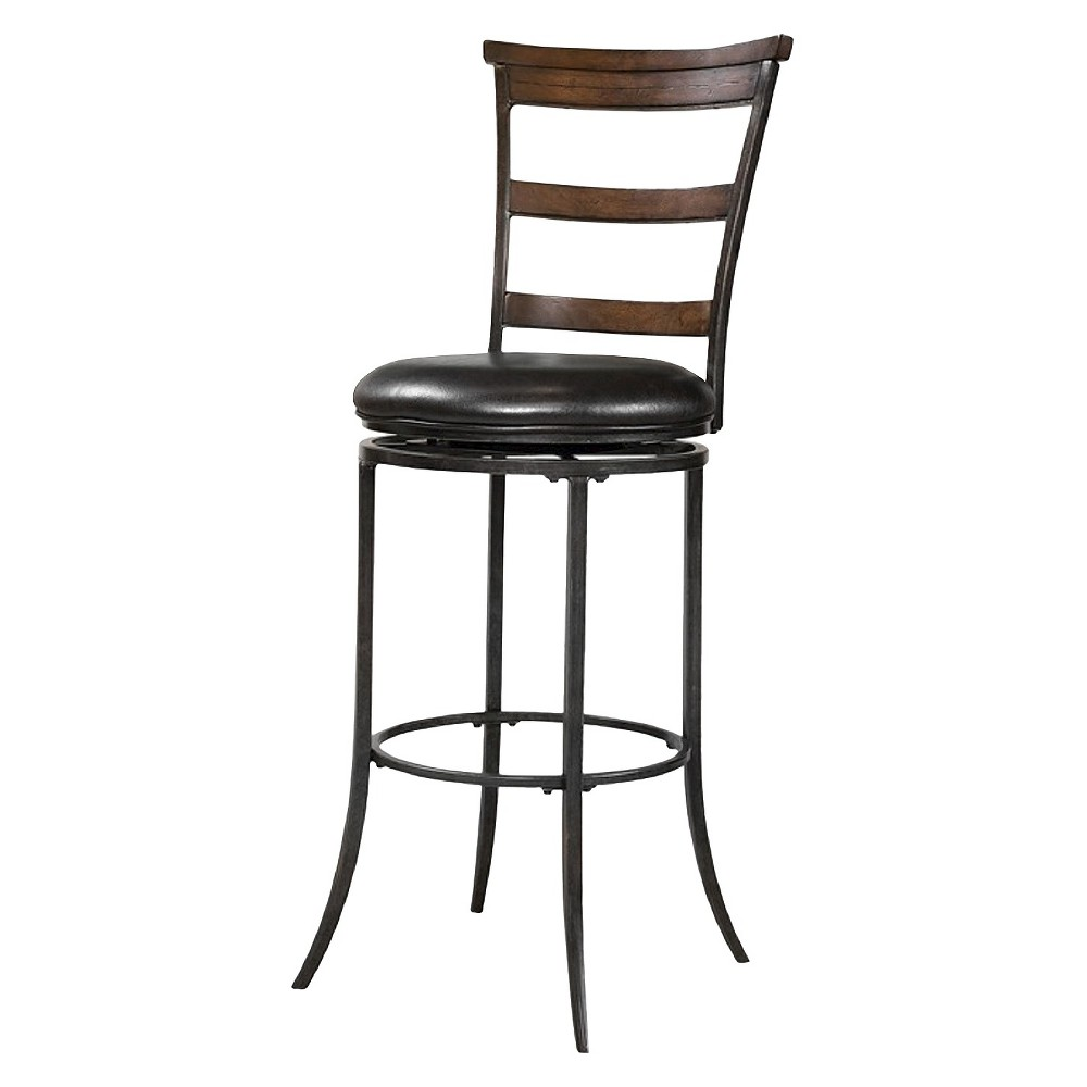 Cameron Swivel 30 Barstool Metal/Charcoal (Grey) - Hillsdale Furniture