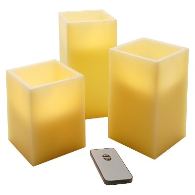 3ct Wax LED Flickering Square Candles with Remote Off-White - Lumabase®