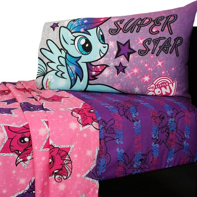 3pc Hasbro Twin Bed Sheet Set The Stars Are Out Bedding - My Little Pony..