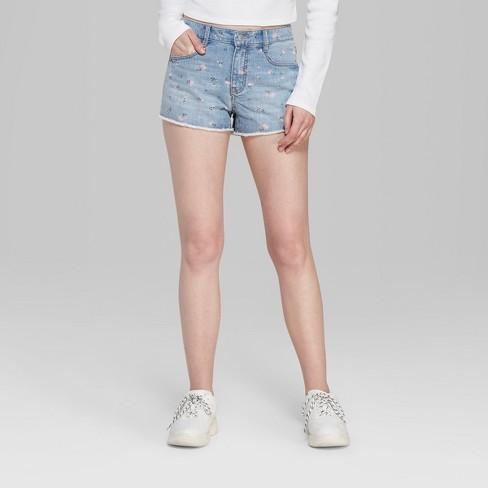 de536fef0539 Women's Floral Print High-Rise Cutoff Jean Shorts - Wild Fable™ Blue ...