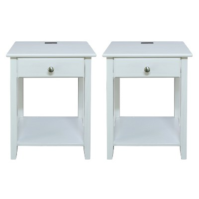 Casual Home 647-21 Night Owl Bedroom Nightstand with Included Discrete USB Port Station, White (2 Pack)