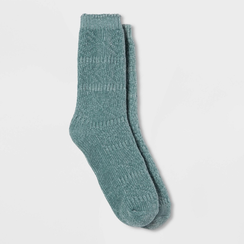Image of Women's Textured Chenille Crew Socks - A New Day Blue One Size, Women's