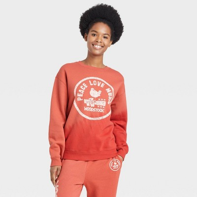 Women's Woodstock Graphic Sweatshirt - Red Tie-dye