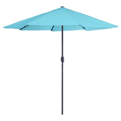9' Aluminum Patio Umbrella with Auto Crank - Blue - Pure Garden