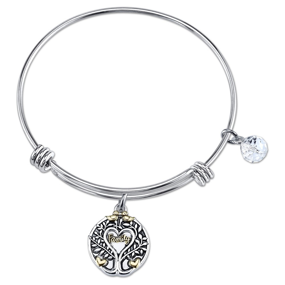 Women's Stainless Steel All Things Grow With Love Expandable Bangle - Silver/Gold (8)