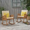 Casa 2pk Acacia Wood Rocking Chair Brown/Cream - Christopher Knight Home - image 2 of 4