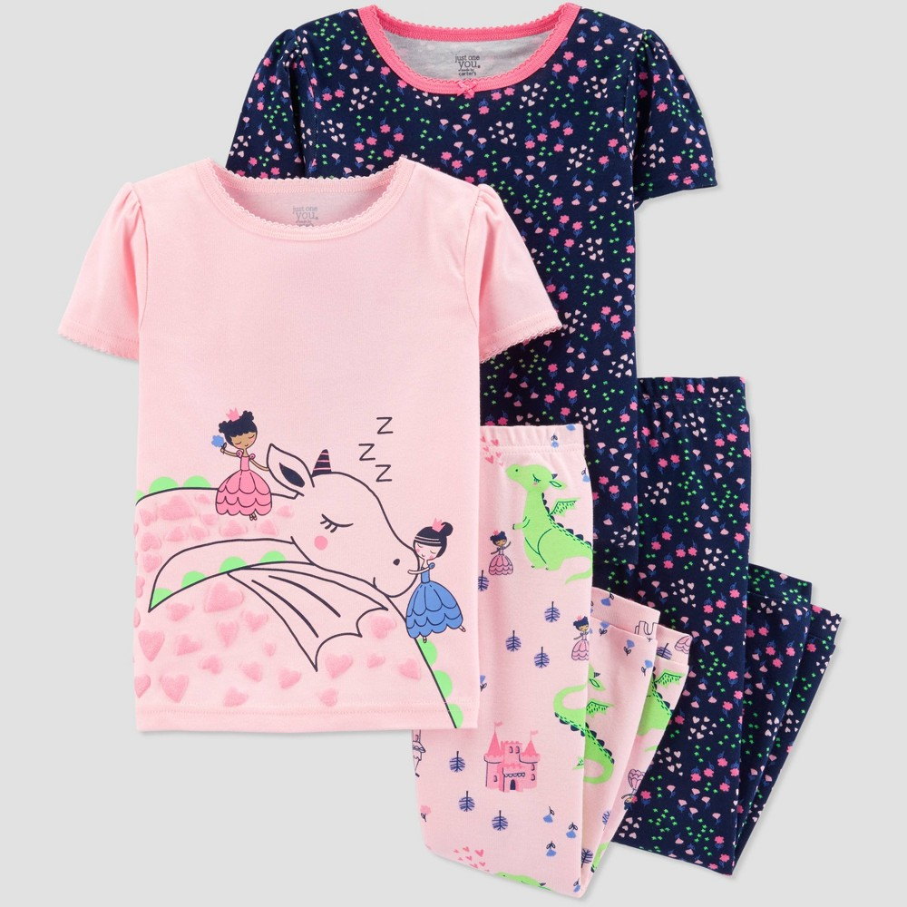 Baby Girls' 4pc White Dragon Pajama Set - Just One You made by carter's Pink/Navy 12M