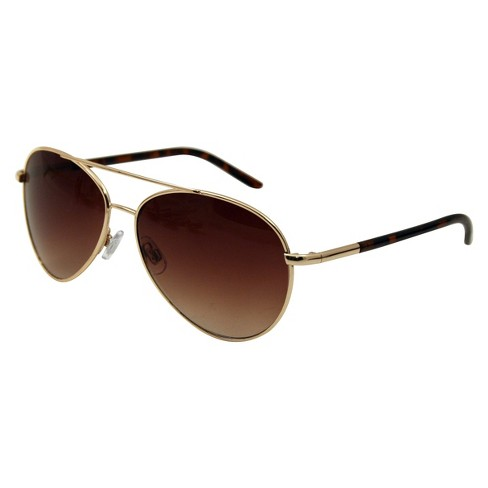c6502f077bb Women s Metal Aviator Sunglasses - Gold   Target