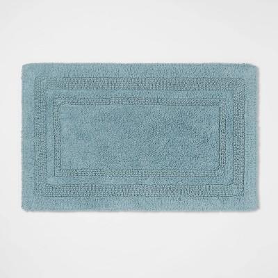 "20""x34"" Performance Cotton Reversible Bath Rug Aqua - Threshold™"