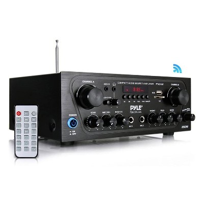 Pyle PTA24BT  250 Watt 2 Channel Compact Wireless Bluetooth Home Audio Amplifier Stereo Receiver Sound System with Microphone Inputs and Remote