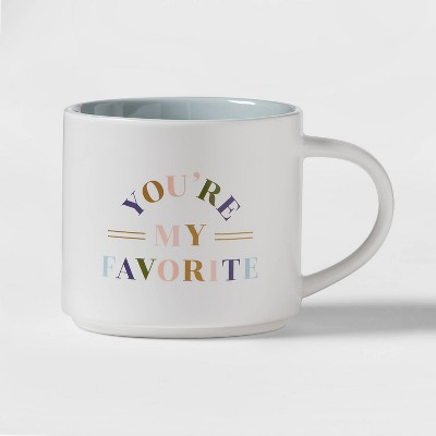 16oz Stoneware You're My Favorite Stacking Mug White - Threshold™