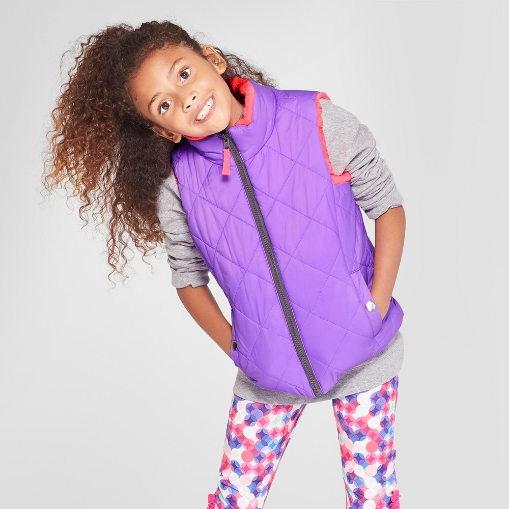 Girls' Reversible Puffer Vest - Cat & Jack Purple XS