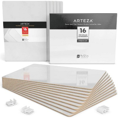 """Arteza White Dry Erase Lapboards with Pen Holder, Pack of 16 (12"""" x 6"""")"""