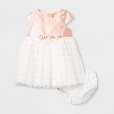 Mia & Mimi Baby Girls' Polka Dots Lacquer Dress with Diaper Cover - Coral 6-9M