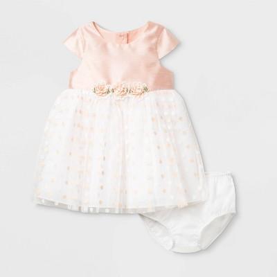 Mia & Mini Baby Girls' Polka Dots Lacquer Dress with Headband - Coral 6-9M