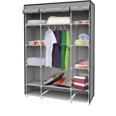 Home Basics Storage Closet with Shelving, Grey