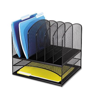 Safco Mesh Desk Organizer Eight Sections Steel 13 1/2 x 11 3/8 x 13 Black 3255BL