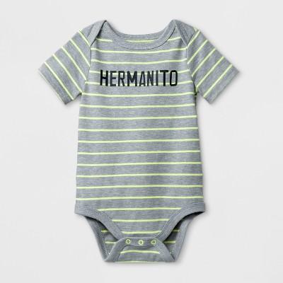 Baby Boys' 'Hermanito' Short Sleeve Bodysuit - Cat & Jack™ Gray Newborn