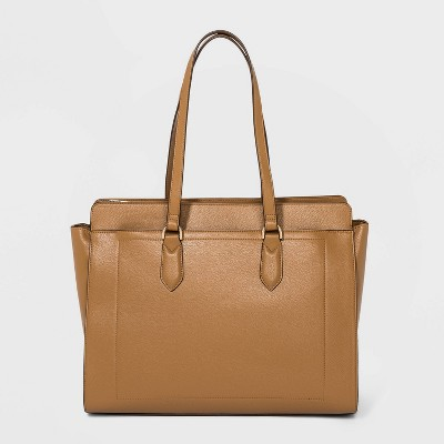 Zip Closure Tote Handbag - A New Day™ Caramel