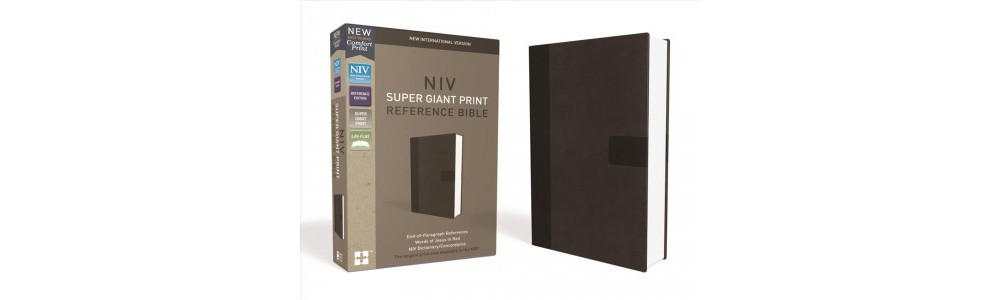 Holy Bible : New International Version, Charcoal, Leathersoft, Super Giant Print Reference - (Paperback)