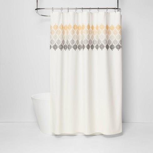 Medallion Shower Curtain Ombré White Threshold Target