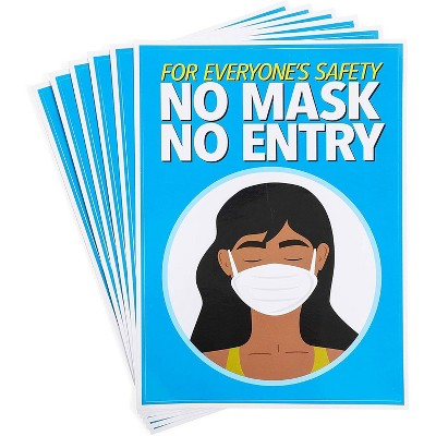 """6-Pack Safety Sticker Sign Decal of No Mask No Entry (5"""" x 7"""", Blue)"""
