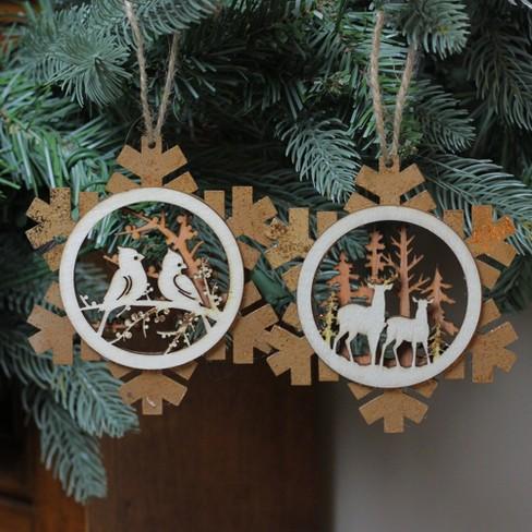Roman 2ct Laser Cut Rustic Woodland Animal Snowflake Christmas Ornament Set 4 Brown