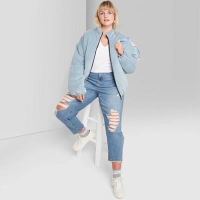 Women's High-Rise Distressed Mom Jeans - Wild Fable™ Medium Blue Wash