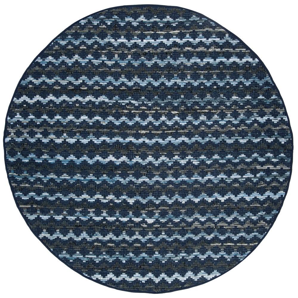 6' Geometric Woven Round Area Rug Navy Blue/Black - Safavieh