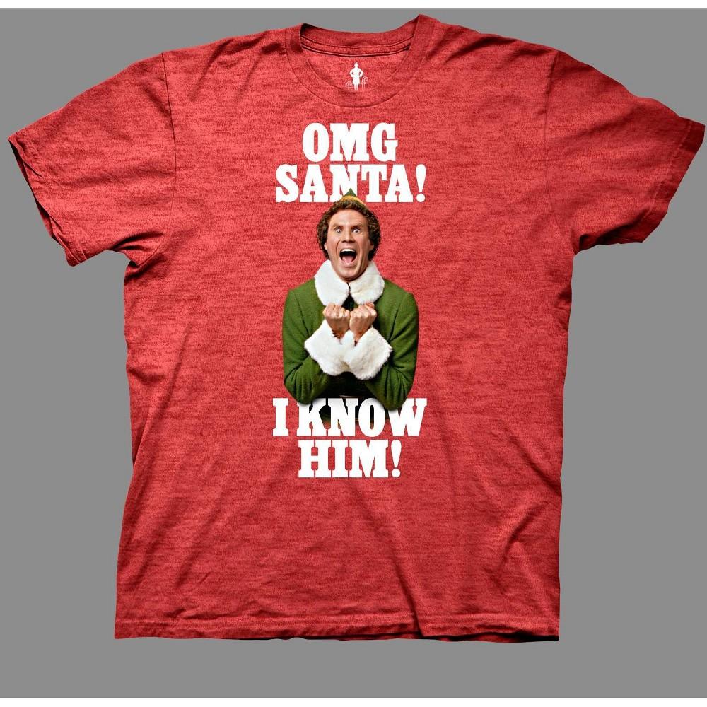 Image of Men's Elf OMG Santa I Know Him Short Sleeve Graphic T-Shirt - Red 2XL, Men's