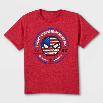 Boys' Marvel Spidey Icon Flag Short Sleeve Graphic T-Shirt - Red
