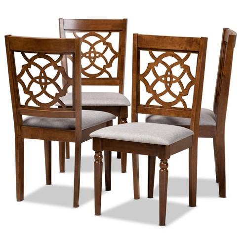 Set of 4 Lylah Dining Chair Gray/Walnut - Baxton Studio - image 1 of 4