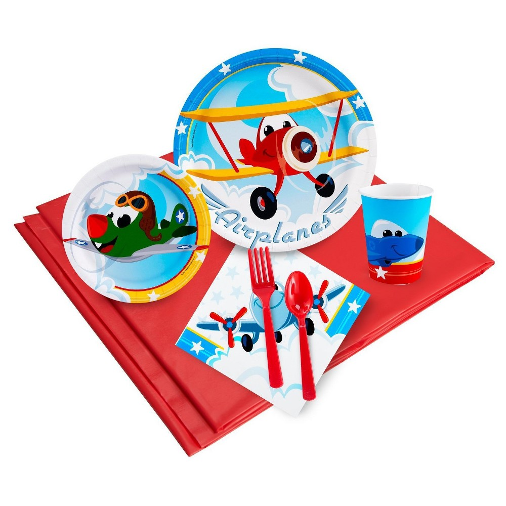 Image of Airplane Adventure 24 Guest Blue Party Pack