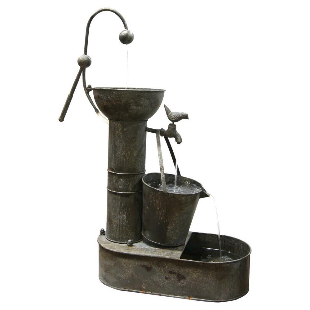 """Image of """"Alpine Corporation 34"""""""" Rustic Metal Tiering Water Pump Fountain - Bronze"""""""